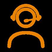 icono atención al cliente color naranja
