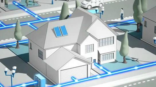 dibujo de una casa con redes inteligentes